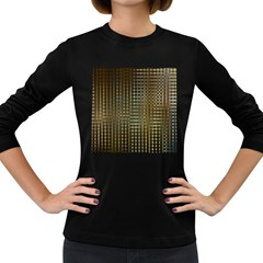 Background Colors Of Green And Gold In A Wave Form Women s Long Sleeve Dark T Shirts
