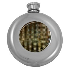 Background Colors Of Green And Gold In A Wave Form Round Hip Flask (5 Oz)