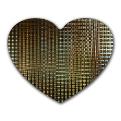 Background Colors Of Green And Gold In A Wave Form Heart Mousepads