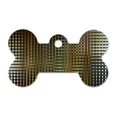 Background Colors Of Green And Gold In A Wave Form Dog Tag Bone (one Side)