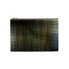 Background Colors Of Green And Gold In A Wave Form Cosmetic Bag (Medium)