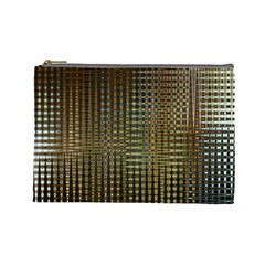 Background Colors Of Green And Gold In A Wave Form Cosmetic Bag (large)