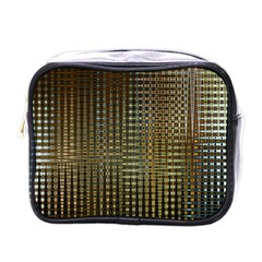 Background Colors Of Green And Gold In A Wave Form Mini Toiletries Bags