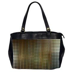 Background Colors Of Green And Gold In A Wave Form Office Handbags (2 Sides)