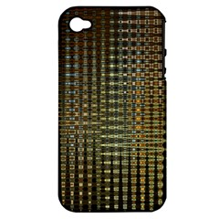 Background Colors Of Green And Gold In A Wave Form Apple Iphone 4/4s Hardshell Case (pc+silicone)