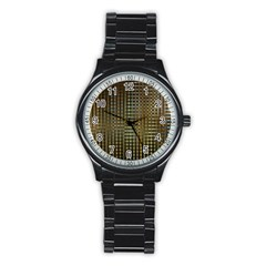 Background Colors Of Green And Gold In A Wave Form Stainless Steel Round Watch