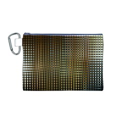 Background Colors Of Green And Gold In A Wave Form Canvas Cosmetic Bag (M)