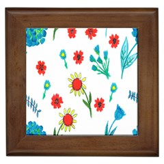 Flowers Fabric Design Framed Tiles