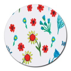 Flowers Fabric Design Round Mousepads