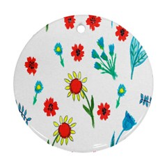 Flowers Fabric Design Ornament (Round)
