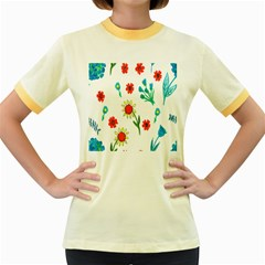 Flowers Fabric Design Women s Fitted Ringer T Shirts