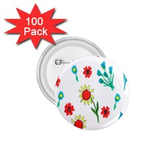 Flowers Fabric Design 1 75  Buttons (100 Pack)