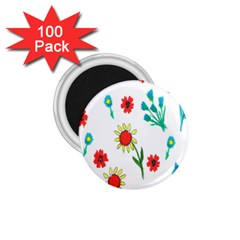 Flowers Fabric Design 1.75  Magnets (100 pack)