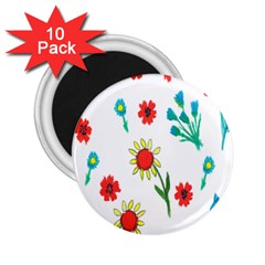 Flowers Fabric Design 2 25  Magnets (10 Pack)