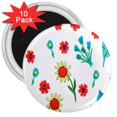 Flowers Fabric Design 3  Magnets (10 pack)