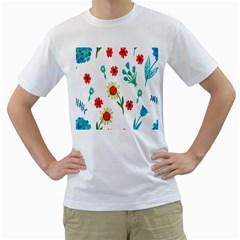 Flowers Fabric Design Men s T-Shirt (White) (Two Sided)