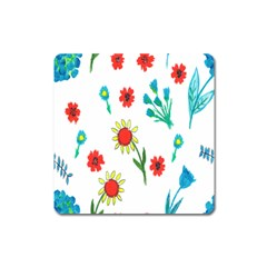 Flowers Fabric Design Square Magnet