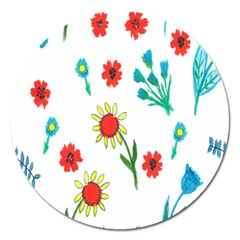 Flowers Fabric Design Magnet 5  (round)