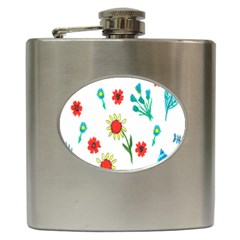 Flowers Fabric Design Hip Flask (6 oz)