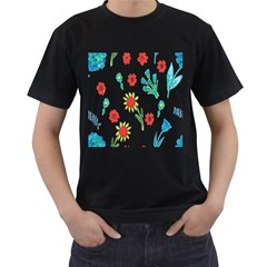 Flowers Fabric Design Men s T-Shirt (Black) (Two Sided)