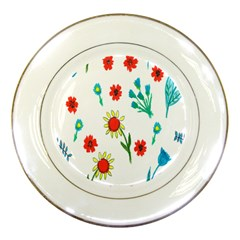 Flowers Fabric Design Porcelain Plates