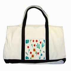 Flowers Fabric Design Two Tone Tote Bag