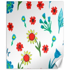 Flowers Fabric Design Canvas 8  x 10