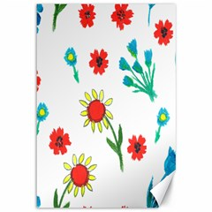 Flowers Fabric Design Canvas 12  x 18