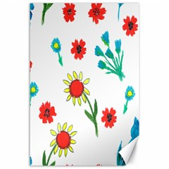 Flowers Fabric Design Canvas 24  X 36
