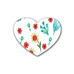 Flowers Fabric Design Heart Coaster (4 pack)