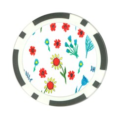 Flowers Fabric Design Poker Chip Card Guard
