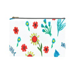 Flowers Fabric Design Cosmetic Bag (Large)
