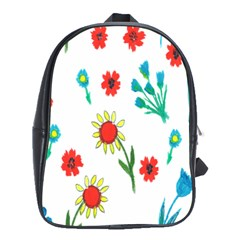 Flowers Fabric Design School Bags(Large)
