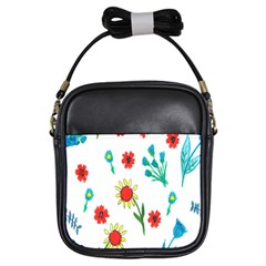 Flowers Fabric Design Girls Sling Bags