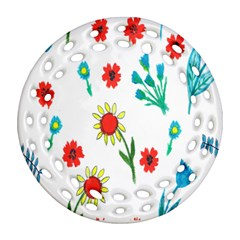 Flowers Fabric Design Round Filigree Ornament (Two Sides)