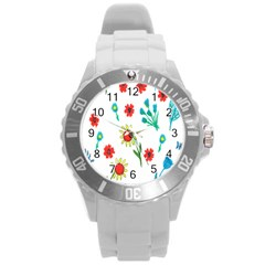 Flowers Fabric Design Round Plastic Sport Watch (L)