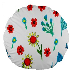 Flowers Fabric Design Large 18  Premium Round Cushions