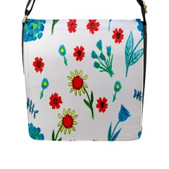 Flowers Fabric Design Flap Messenger Bag (L)