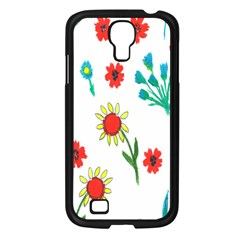 Flowers Fabric Design Samsung Galaxy S4 I9500/ I9505 Case (Black)