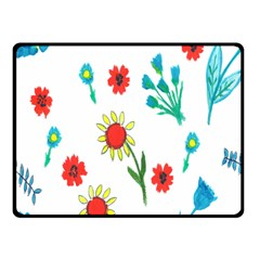 Flowers Fabric Design Double Sided Fleece Blanket (small)
