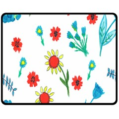 Flowers Fabric Design Double Sided Fleece Blanket (Medium)