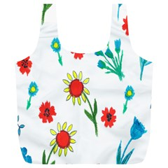 Flowers Fabric Design Full Print Recycle Bags (L)