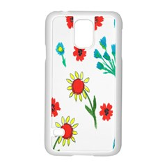 Flowers Fabric Design Samsung Galaxy S5 Case (white)
