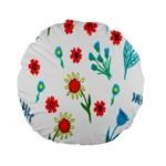 Flowers Fabric Design Standard 15  Premium Flano Round Cushions Back
