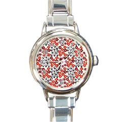 Simple Japanese Patterns Round Italian Charm Watch
