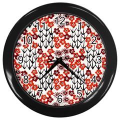 Simple Japanese Patterns Wall Clocks (black)