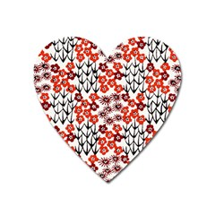 Simple Japanese Patterns Heart Magnet