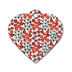 Simple Japanese Patterns Dog Tag Heart (two Sides)