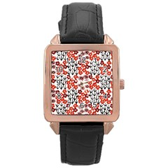 Simple Japanese Patterns Rose Gold Leather Watch