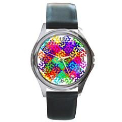 3d Fsm Tessellation Pattern Round Metal Watch